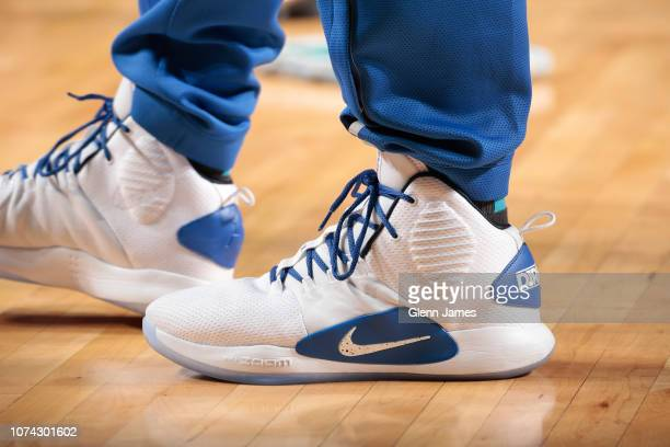 The sneakers of Dirk Nowitzki of the Dallas Mavericks are worn during a game against the Sacramento Kings on December 16 2018 at the American...