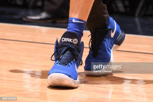 The sneakers of Dirk Nowitzki of the Dallas Mavericks as seen before the game against the Denver Nuggets on January 16 2018 at the Pepsi Center in...