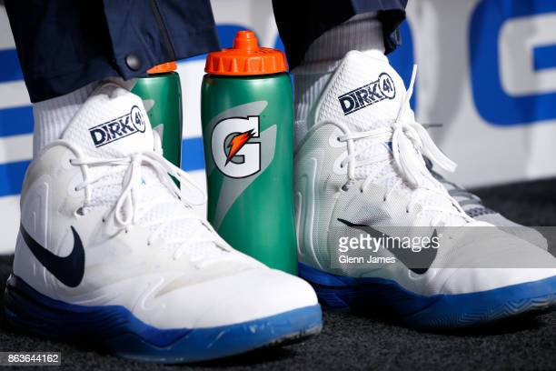 The sneakers of Dirk Nowitzki of the Dallas Mavericks before the game against the Atlanta Hawks at the American Airlines Center in Dallas Texas on...