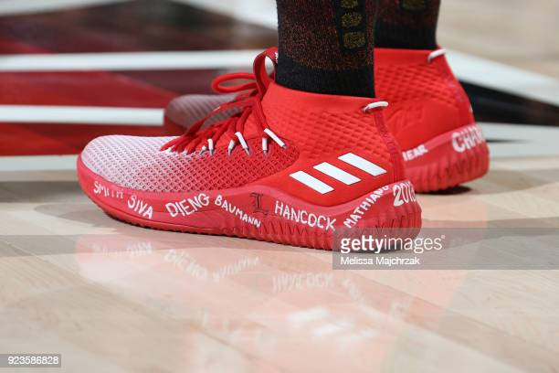 The sneakers of Donovan Mitchell of the Utah Jazz are seen during the game against the Portland Trail Blazers on February 23 2018 at vivintSmartHome...