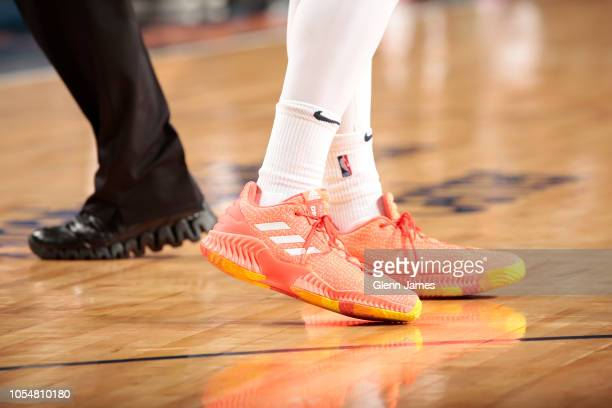 The sneakers of Donovan Mitchell of the Utah Jazz are worn during a game against the Dallas Mavericks on October 28 2018 at American Airlines Center...