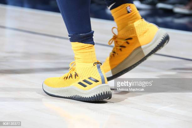 The sneakers of Donovan Mitchell of the Utah Jazz as seen during the game against the LA Clippers on January 20 2018 at Vivint Smart Home Arena in...
