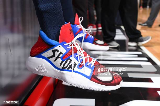 The sneakers of Donovan Mitchell of the Utah Jazz before the game against the LA Clippers on April 10 2019 at STAPLES Center in Los Angeles...