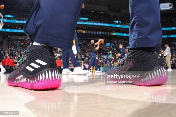 The sneakers of Donovan Mitchell of the Utah Jazz before the game against the Dallas Mavericks on February 24 2018 at Vivint Smart Home Arena in Salt...