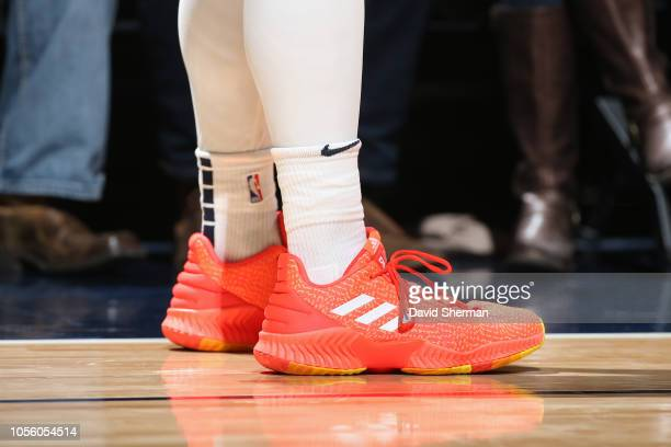 The sneakers of Donovan Mitchell of the Utah Jazz during the game against the Minnesota Timberwolves on October 31 2018 at Target Center in...