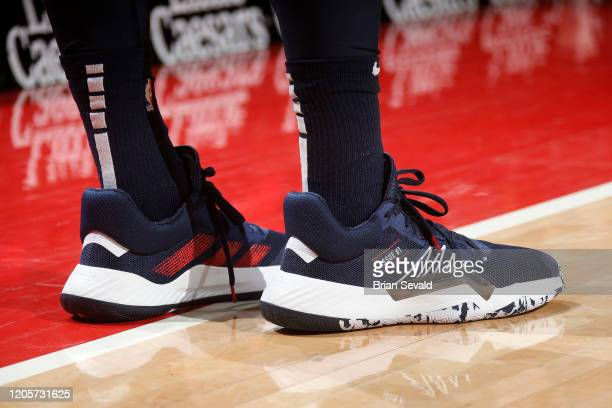The sneakers of Donovan Mitchell of the Utah Jazz during the game against the Detroit Pistons on March 7 2020 at Little Caesars Arena in Detroit...