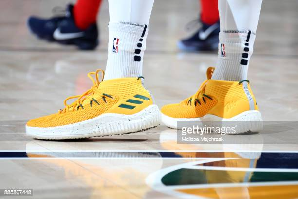 The sneakers of Donovan Mitchell of the Utah Jazz during the game against the Washington Wizards on December 4 2017 at Vivint Smart Home Arena in...