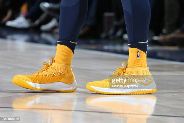 The sneakers of Donovan Mitchell of the Utah Jazz during the game against the Phoenix Suns on March 15 2018 at vivintSmartHome Arena in Salt Lake...