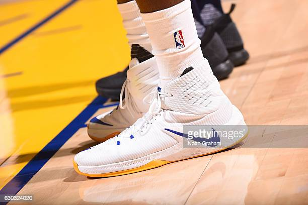 The sneakers of Draymond Green of the Golden State Warriors are seen during the game against the Utah Jazz on December 20 2016 at ORACLE Arena in...