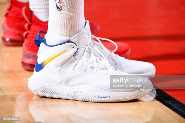 The sneakers of Draymond Green of the Golden State Warriors are seen during the game against the Houston Rockets during Game Two of the Western...