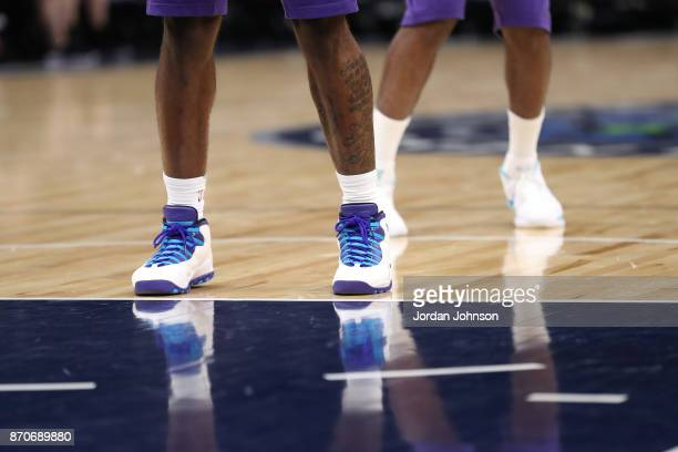 The sneakers of Dwayne Bacon of the Charlotte Hornets are seen during the game against the Minnesota Timberwolves on November 5 2017 at Target Center...