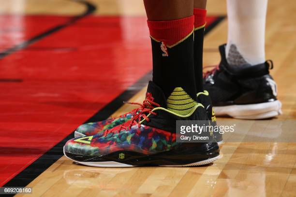 The sneakers of Dwight Howard of the Atlanta Hawks are seen during the game against the Chicago Bulls on April 1 2017 at the United Center in Chicago...