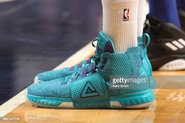 The sneakers of Dwight Howard of the Charlotte Hornet are seen during the game against the New York Knicks on December 18 2017 at Spectrum Center in...