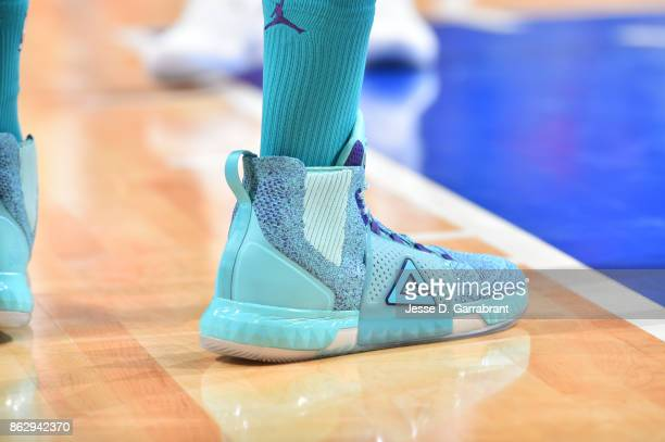 The sneakers of Dwight Howard of the Charlotte Hornets are seen during the game against the Detroit Pistons on October 18 2017 at Little Caesars...