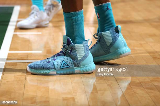The sneakers of Dwight Howard of the Charlotte Hornets are seen during the game against the Milwaukee Bucks on October 23 2017 at the BMO Harris...
