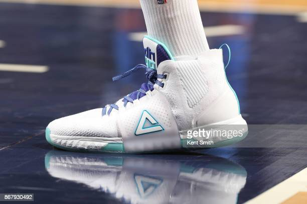 The sneakers of Dwight Howard of the Charlotte Hornets are seen during the game against the Orlando Magic on October 29 2017 at Spectrum Center in...