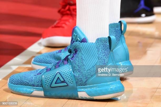 The sneakers of Dwight Howard of the Charlotte Hornets as seen during the game against the LA Clippers on December 31 2017 at STAPLES Center in Los...