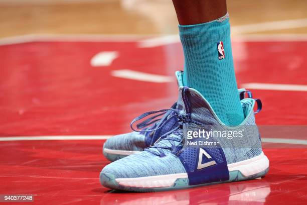The sneakers of Dwight Howard of the Charlotte Hornets as seen during the game against the Washington Wizards on March 31 2018 at the Capital One...