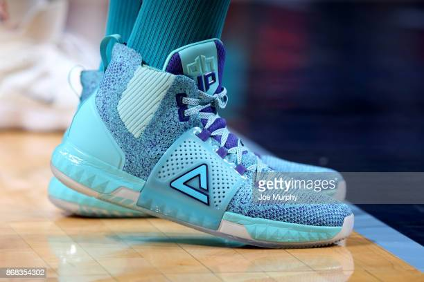The sneakers of Dwight Howard of the Charlotte Hornets during the game against the Memphis Grizzlies on October 30 2017 at FedExForum in Memphis...