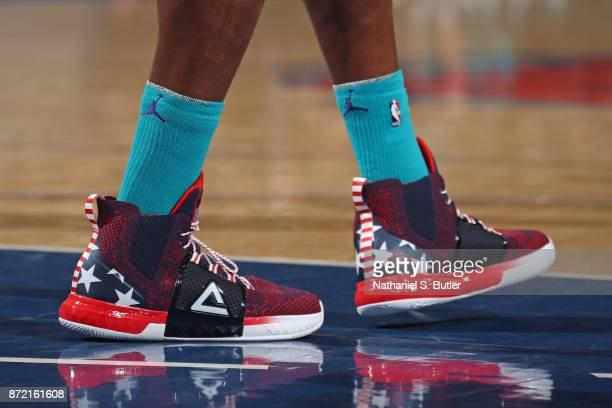 The sneakers of Dwight Howard of the Charlotte Hornets during the game against the New York Knicks on November 7 2017 at Madison Square Garden in New...