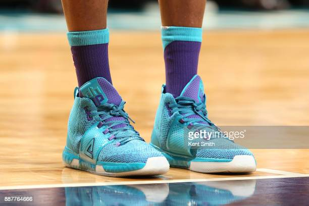 The sneakers of Dwight Howard of the Charlotte Hornets during the game against the Golden State Warriors on December 6 2017 at Spectrum Center in...