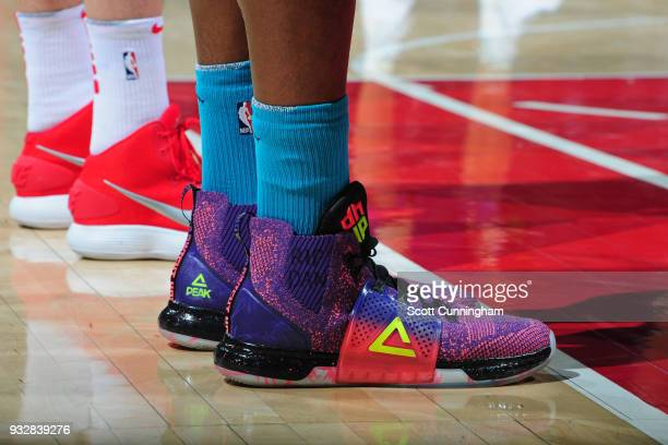 The sneakers of Dwight Howard of the Charlotte Hornets during the game against the Atlanta Hawks on March 15 2018 at Philips Arena in Atlanta Georgia...