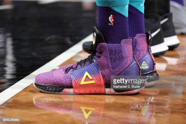 The sneakers of Dwight Howard of the Charlotte Hornets during the game against the Brooklyn Nets on March 21 2018 at Barclays Center in Brooklyn New...