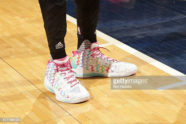 The sneakers of Dwight Howard of the Houston Rockets before the game against the Indiana Pacers on March 27 2016 at Bankers Life Fieldhouse in...