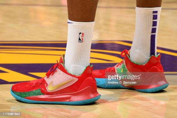 The sneakers of Dwight Howard of the Los Angeles Lakers are worn during a preseason gameagainst the Golden State Warriors on October 14 2019 at...