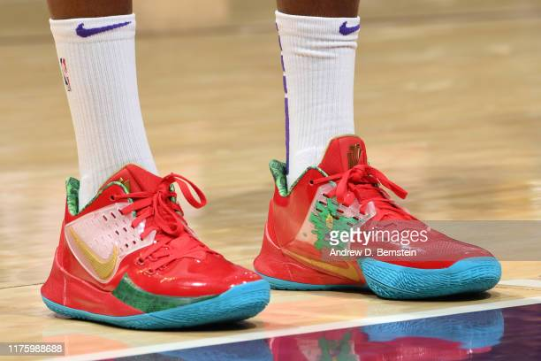 The sneakers of Dwight Howard of the Los Angeles Lakers are worn during a preseason game against the Golden State Warriors on October 14 2019 at...