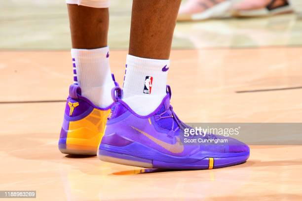 The sneakers of Dwight Howard of the Los Angeles Lakers are worn during a game against the Atlanta Hawks on December 15 2019 at State Farm Arena in...