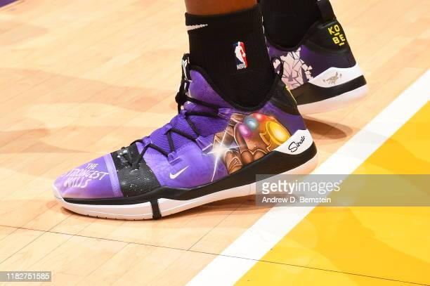 The sneakers of Dwight Howard of the Los Angeles Lakers during a game against the Sacramento Kings on November 15 2019 at STAPLES Center in Los...