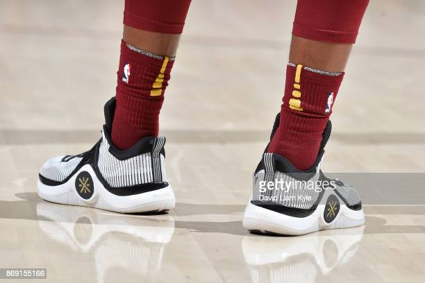 The sneakers of Dwyane Wade of the Cleveland Cavaliers are seen during the game against the Indiana Pacers on November 1 2017 at Quicken Loans Arena...