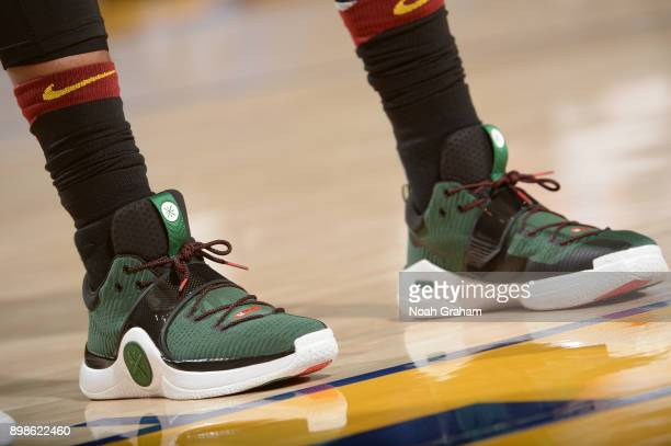 The sneakers of Dwyane Wade of the Cleveland Cavaliers are seen during the game against the Golden State Warriors on December 25 2017 at ORACLE Arena...