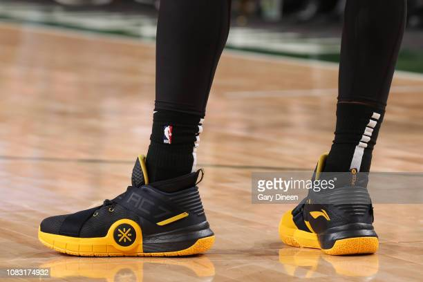 The sneakers of Dwyane Wade of the Miami Heat are worn during a game against the Milwaukee Bucks on January 15 2019 at the Fiserv Forum Center in...
