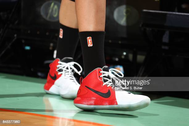 The sneakers of Elena Delle Donne of the Washington Mystics are seen during the game against the New York Liberty in Round Two of the 2017 WNBA...