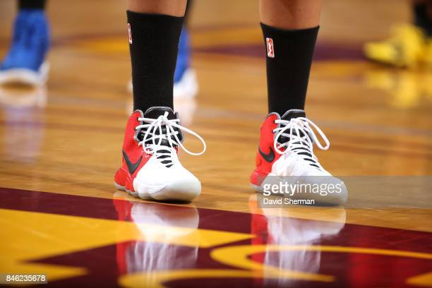 The sneakers of Elena Delle Donne of the Washington Mystics are seen during the game against the Minnesota Lynx in Game One of the Semifinals during...