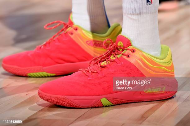 The sneakers of Emanuel Terry of the Oklahoma City Thunder are worn during a game against the Philadelphia 76ers on July 8 2019 at the Cox Pavilion...