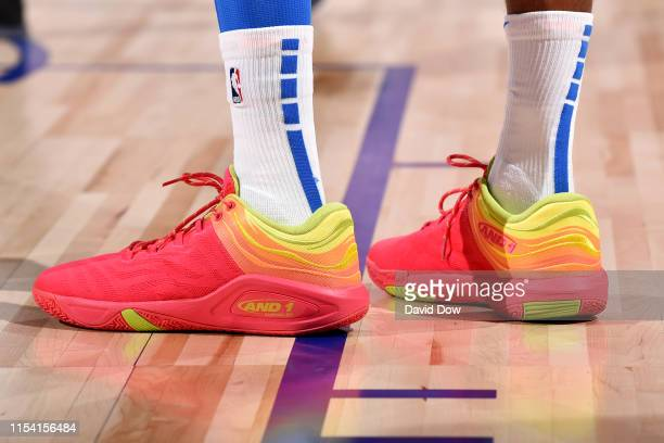 The sneakers of Emanuel Terry of the Oklahoma City Thunder during the game against the Utah Jazz on July 6 2019 at the Cox Pavilion in Las Vegas...