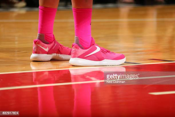 The sneakers of Emma Meesseman of the Washington Mystics are seen during the game against the Los Angeles Sparks on August 16 2017 at the Verizon...