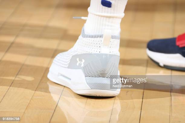 The sneakers of Emmanuel Mudiay of the New York Knicks are seen during the game against the Washington Wizards on February 14 2018 at Madison Square...