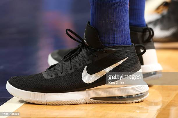 The sneakers of Enes Kanter of the New York Knicks are seen during the game against the Charlotte Hornets on December 18 2017 at Spectrum Center in...