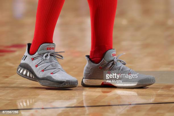 The sneakers of Eric Gordon of the Houston Rockets during the game against the Cleveland Cavaliers on November 9 2017 at Toyota Center in Houston...