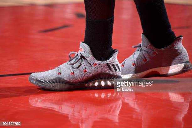 The sneakers of Eric Gordon of the Houston Rockets during the game against the Golden State Warriors on January 4 2018 at the Toyota Center in...