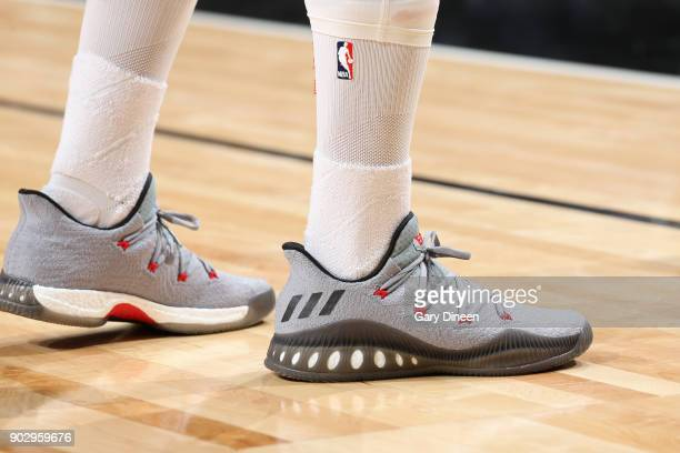 The sneakers of Eric Gordon of the Houston Rockets during the game against the Chicago Bulls on January 8 2018 at the United Center in Chicago...