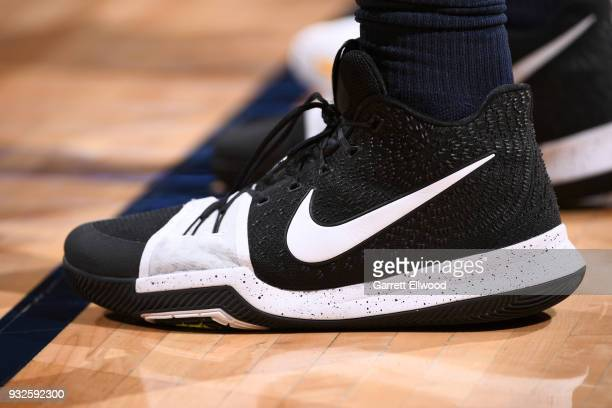 The sneakers of Eric Moreland of the Detroit Pistons during the game against the Denver Nuggets on March 15 2018 at the Pepsi Center in Denver...