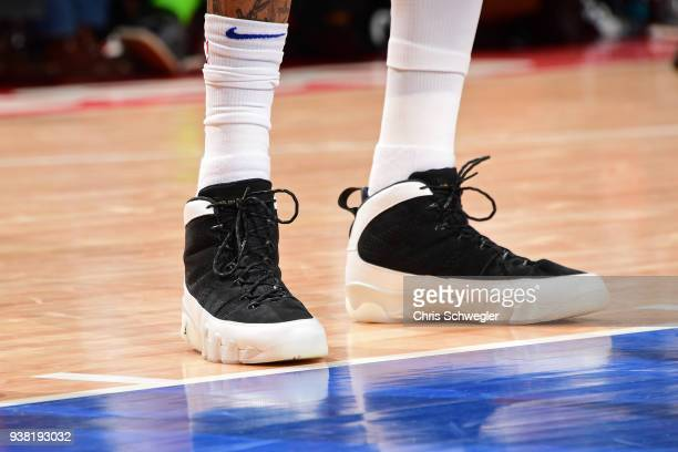 The sneakers of Eric Moreland of the Detroit Pistons during the game against the Chicago Bulls on March 24 2018 at Little Caesars Arena in Auburn...