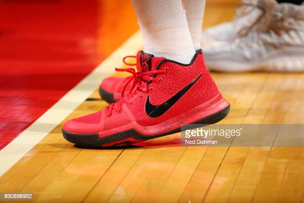 The sneakers of Erica McCall of the Indiana Fever are seen during the game against the Washington Mystics on August 12 2017 at the Verizon Center in...
