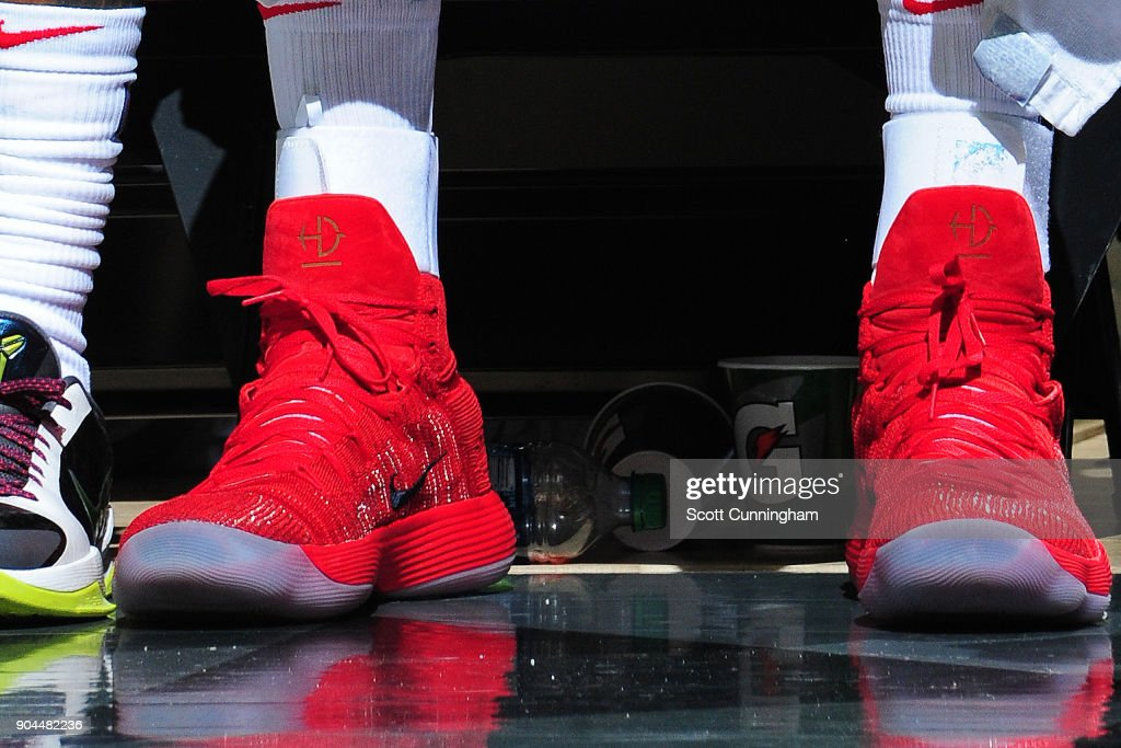 The sneakers of Ersan Ilyasova #7 of the Atlanta Hawks during the game against the Brooklyn Nets on January 12, 2018 at Philips Arena in Atlanta, Georgia.