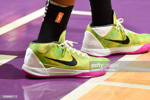The sneakers of Essence Carson of the Los Angeles Sparks are seen during the game against the Minnesota Lynx on August 2 2018 at STAPLES Center in...